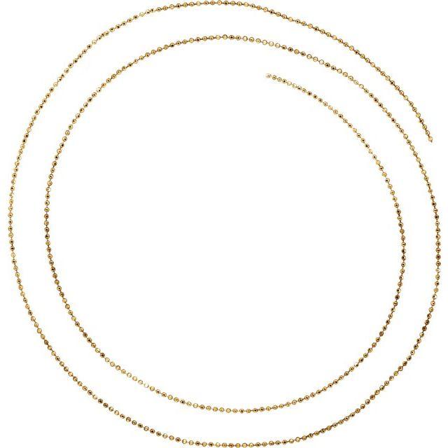 14K Yellow 1 mm Diamond-Cut Bead Chain by the Inch