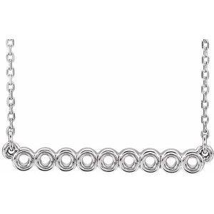 """14K White Circle Bar 16""""-18"""" Necklace"""