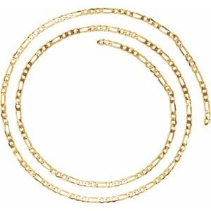 14K Yellow 3 mm Solid Figaro Chain by the Inch