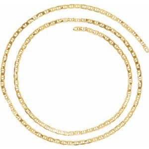 14K Yellow 3.7 mm Solid Curbed Anchor Chain by the Inch