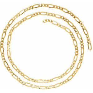 14K Yellow 4 mm Figaro Chain by the Inch