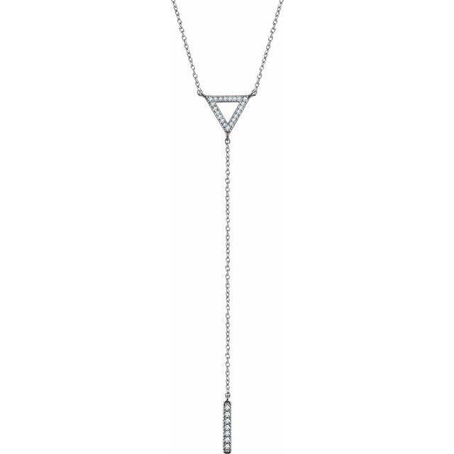 14K White 1/6 CTW Diamond Triangle & Bar Y 16-18