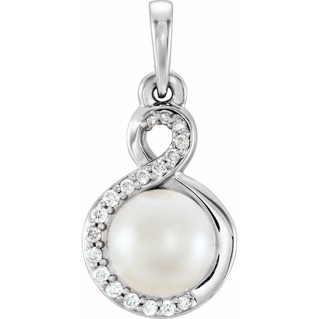 Sterling Silver Freshwater Cultured Pearl & .07 CTW Diamond Pendant