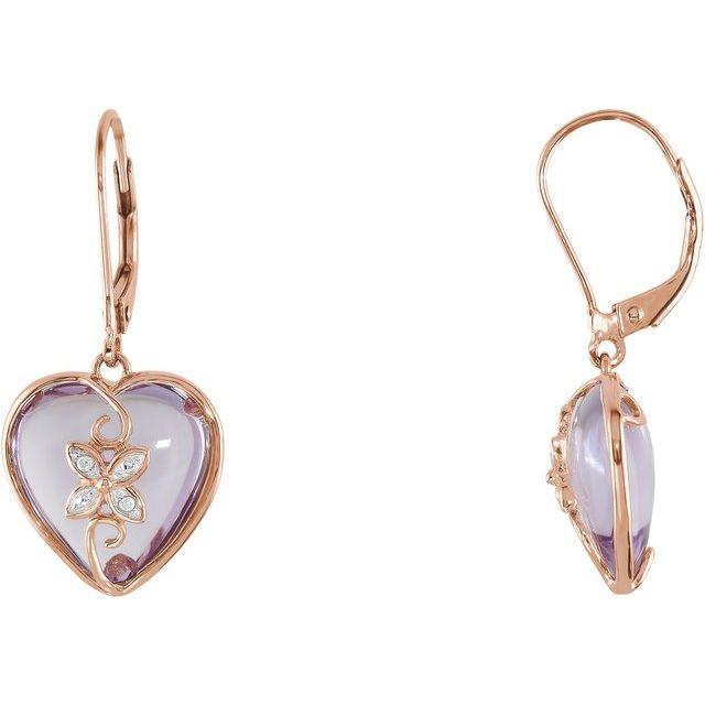 14K Rose Cabochon Rose de France Heart & .06 CTW Diamond Earrings