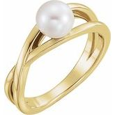 Solitaire Pearl Ring
