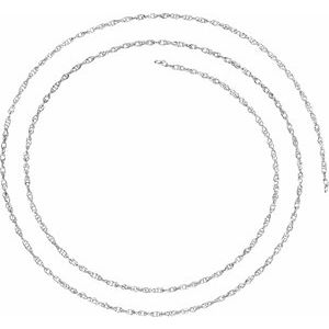 18K White 1.5 mm Solid Rope Chain By the Inch