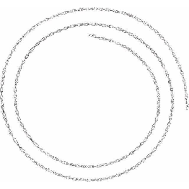 10K White 1.5 mm Solid Rope Chain By the Inch