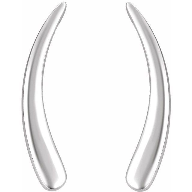 14K White Curved Ear Climbers