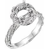 Pave Twist Halo-Style Engagement Ring or Band