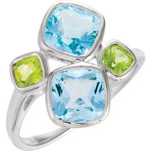Sterling Silver Sky Blue Topaz & Peridot Ring