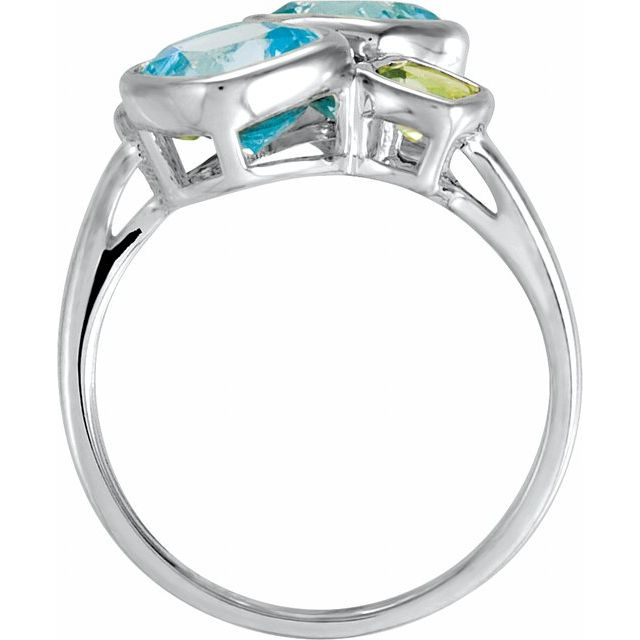 Sterling Silver Sky Blue Topaz & Peridot Ring