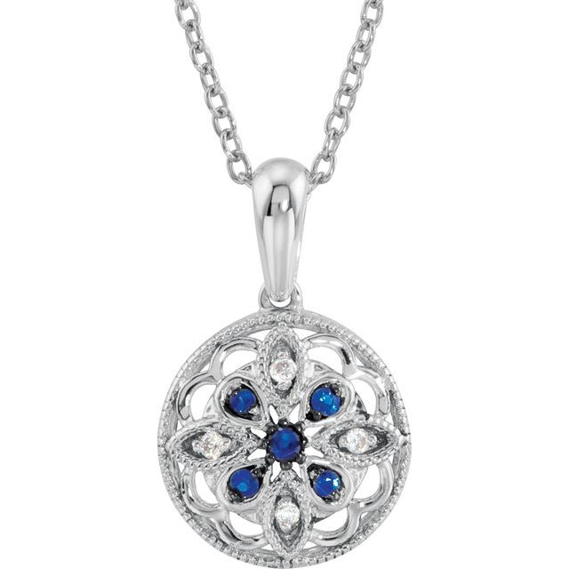 Sterling Silver Blue Sapphire & .03 CTW Diamond 18