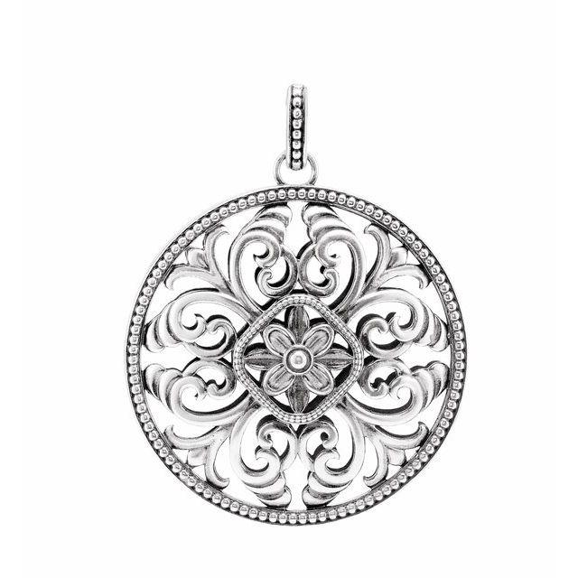Sterling Silver 59x46 mm Filigree Circle Pendant