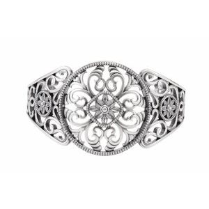 14K White Filigree Cuff Bracelet