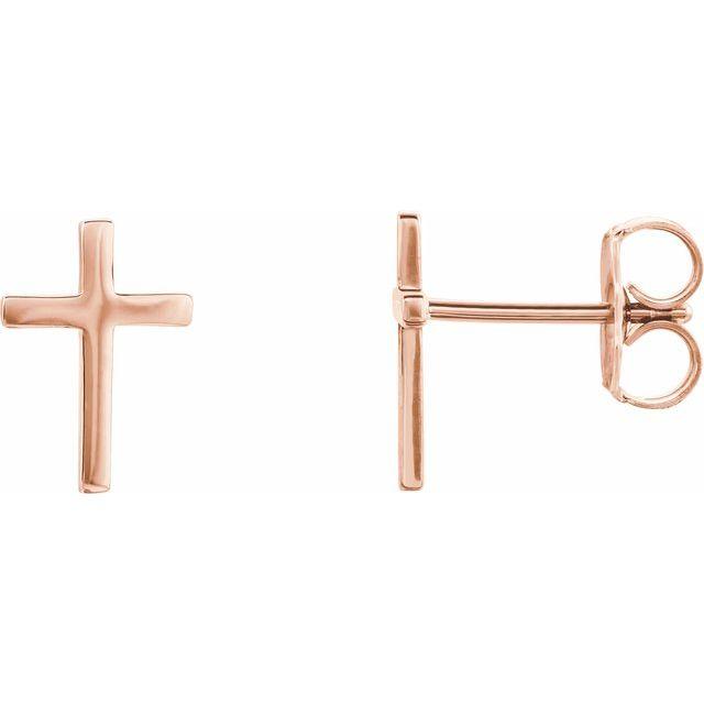 14K Rose Cross Earrings