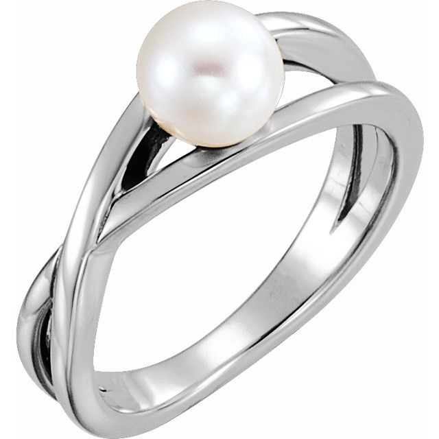 Sterling Silver Freshwater Cultured Pearl Solitaire Ring
