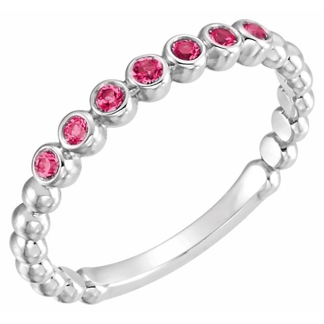 14K White Lab-Grown Ruby Stackable Ring