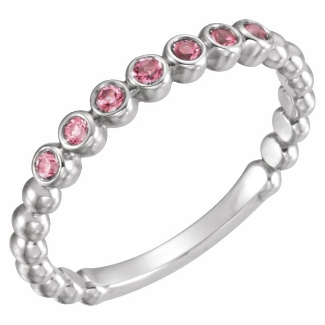 14K White Pink Tourmaline Stackable Ring