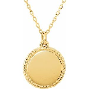 """14K Yellow Round 16-18"""" Rope Necklace"""