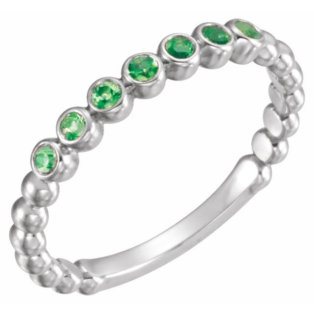 14K White Lab-Grown Emerald Stackable Ring