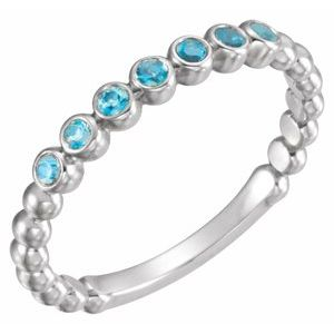 14K White Blue Zircon Stackable Ring