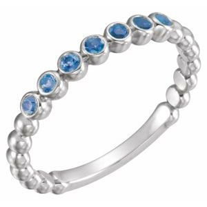 14K White Blue Sapphire Stackable Ring