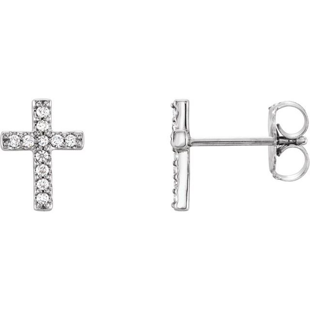 14K White 1/10 CTW Diamond Cross Earrings