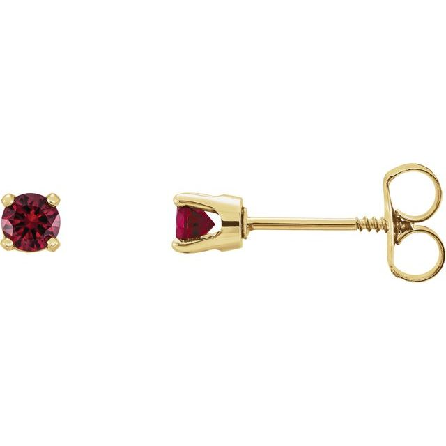 14K Yellow 3 mm Round Mozambique Garnet Youth Birthstone Earrings
