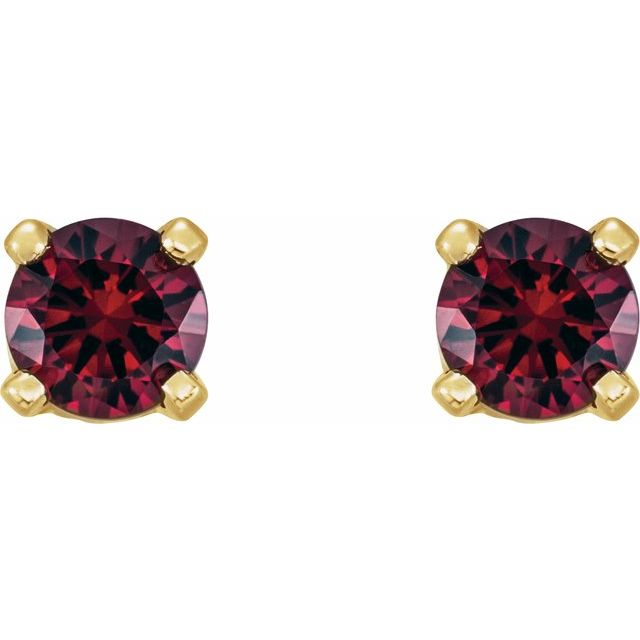 14K Yellow 3 mm Round Ruby Youth Birthstone Earrings