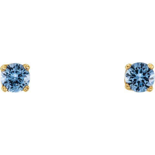 14K Yellow 3 mm Round Imitation Aquamarine Youth Birthstone Earrings