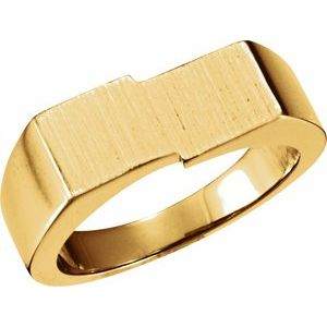 14K Yellow 16x9 mm Rectangle Signet Ring