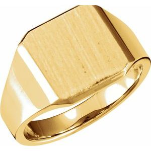 14K Yellow 14 mm Octagon Signet Ring