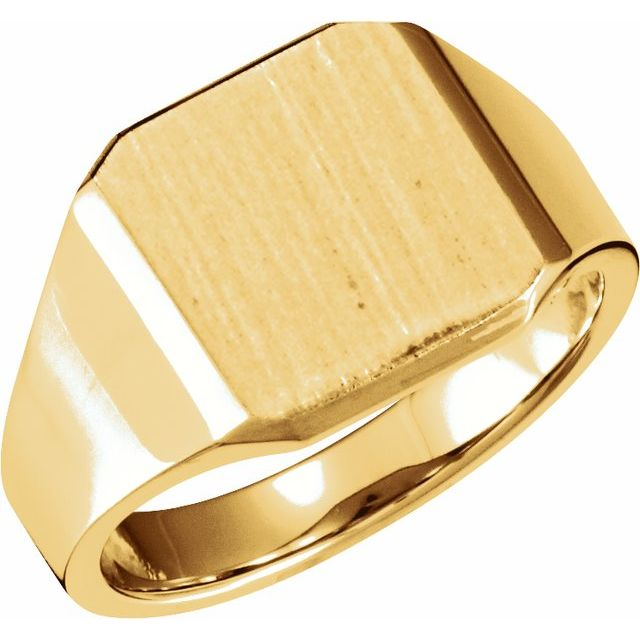 14K Yellow 14 mm Octagon Signet Ring
