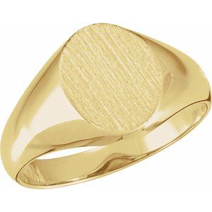14K Yellow 10x8 mm Oval Signet Ring
