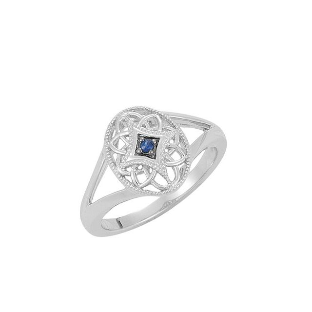 Sterling Silver Blue Sapphire Granulated Filigree Ring Size 7