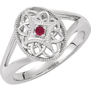 Sterling Silver Ruby Granulated Filigree Ring Size 8