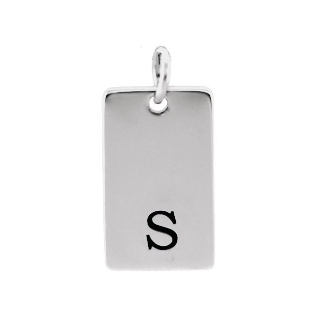 14K White 19x10 mm Be Posh® Rectangle Pendant