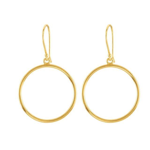 14K Yellow Circle Shaped Earrings