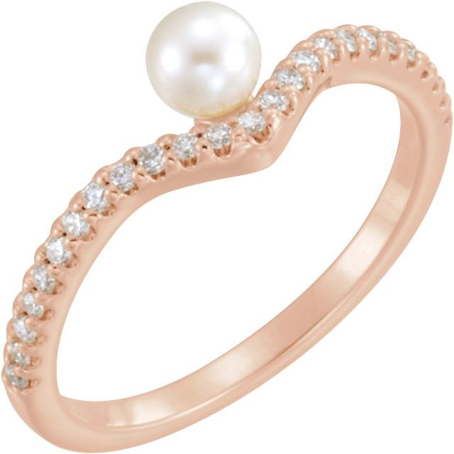 14K Rose Cultured White Freshwater Cultured Pearl & 1/5 CTW Natural Diamond V Ring