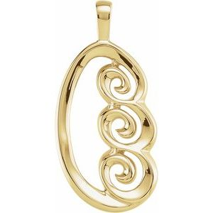 14K Yellow 30x14 mm Freeform Pendant