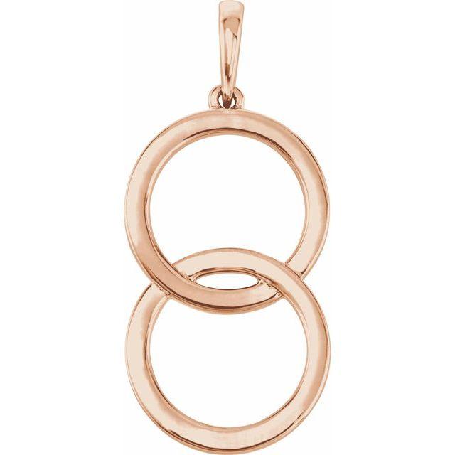 14K Rose Interlocking Circle Pendant