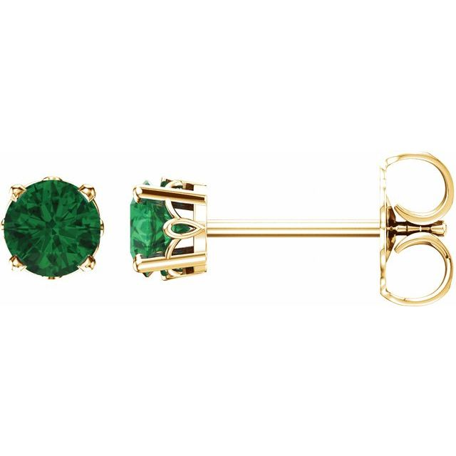 14K Yellow Emerald 4-Prong Scroll Setting® Stud Earrings