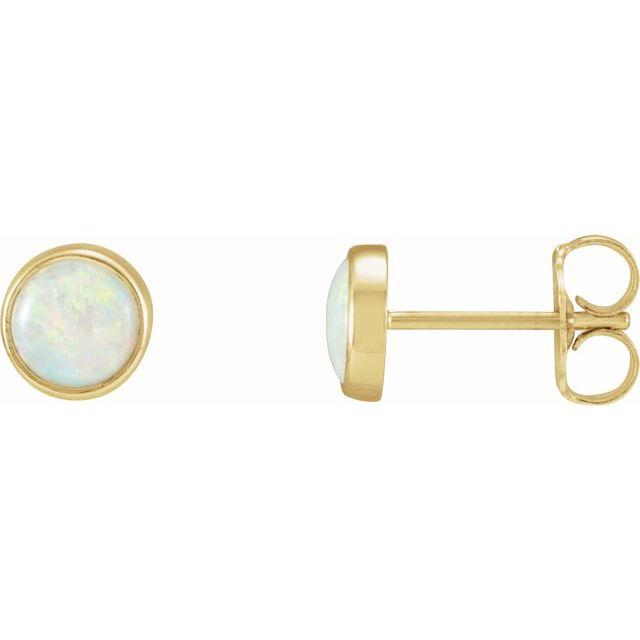14K Yellow Natural Opal Earring