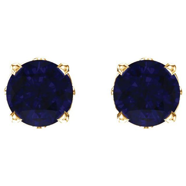 14K Yellow Lab-Grown Sapphire 4-Prong Scroll Setting® Stud Earrings