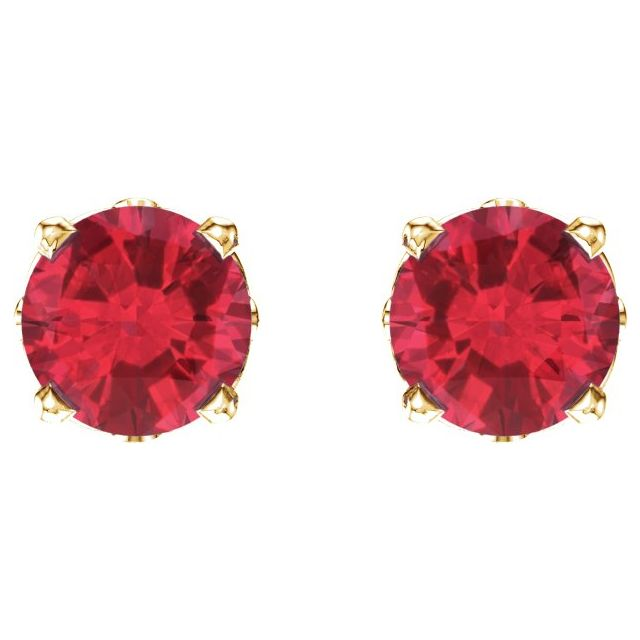 14K Yellow Ruby 4-Prong Scroll Setting® Stud Earrings