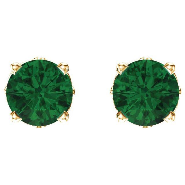 14K Yellow Lab-Grown Emerald 4-Prong Scroll Setting® Stud Earrings