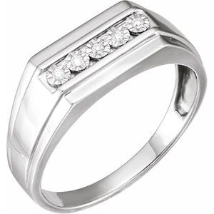 Sterling Silver Men-s .05 CTW Diamond Design Band Size 11