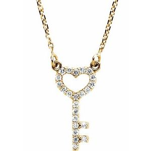 "14K Yellow 1/8 CTW Diamond Petite Heart Key 16.5"" Necklace"