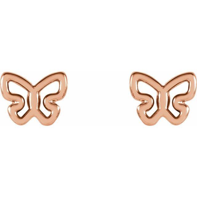 14K Rose 6.1x4.8 mm Butterfly Earrings