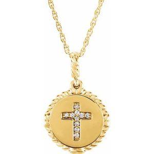 "14K Yellow .04 CTW Diamond Cross Rope 16-18"" Necklace"
